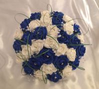 ARTIFICIAL FLOWERS ROYAL BLUE / IVORY FOAM ROSE BRIDE CRYSTAL WEDDING BOUQUET